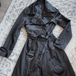 Bebe Black Satin Cotton Trench Coat, size XS